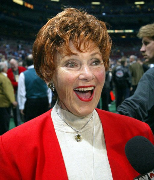 Actress Marion Ross who played the part of Mrs. Cunningham on the 1970's sitcom Happy Days, does an interview from the field before a game between the St. Louis Rams and the Atlanta Falcons at the Edward Jones Dome in St. Louis on October 13, 2003. (UPI/BILL GREENBLATT)