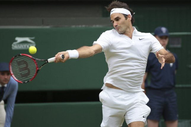 Swiss Roger Federer returns the ball. File photo by Hugo Philpott/UPI