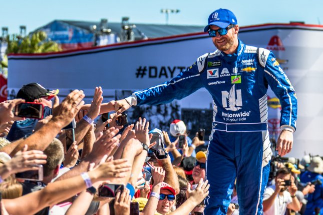 Dale Earnhardt Jr. greets fans prior to the 59th Daytona 500 in February. Photo by Edwin Locke/UPI