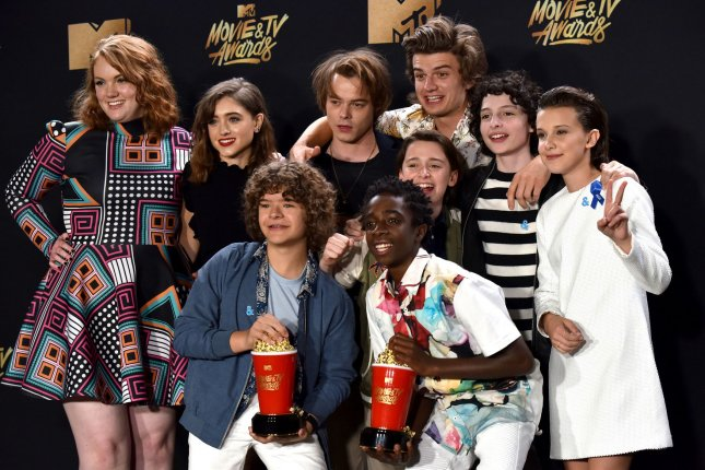 Cast of Stranger Things appears backstage with the Show of the Year award at the MTV Movie & TV Awards in Los Angeles on May 7. The series earned an Emmy nomination for Best Drama Thursday. Photo by Christine Chew/UPI