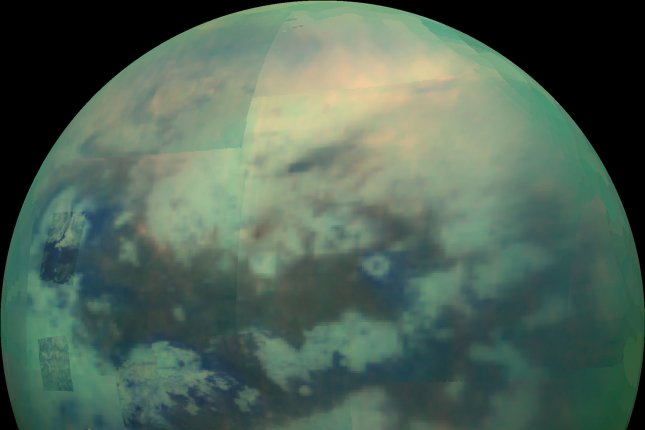 New research explains anomalies in the temperature of the polar vortex on Saturn's moon Titan. Photo by NASA/UPI