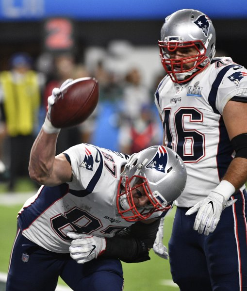 New England Patriots tight end Rob Gronkowski celebrates a touchdown against the Philadelphia Eagles during Super Bowl LII in February. Photo by Brian Kersey/UPI