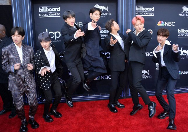 J-Hope, V, Jungkook, Jimin, Suga, Jin and RM of BTS have opened the door for other K-pop bands to enter the U.S. market, said  Phil Quartararo, CEO of Tripod Partners. Photo by Jim Ruymen/UPI