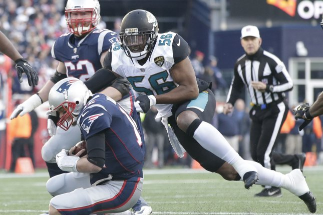 Former Jacksonville Jaguars defensive lineman Dante Fowler Jr. (56) confirmed on social media that he was fined more than $700,000 for missing treatments with a trainer or physician in the off-season. File Photo by John Angelillo/UPI