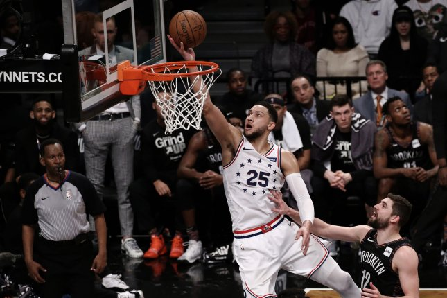 Philadelphia 76ers star Ben Simmons (25) has averaged 11.7 points and seven rebounds per game in the NBA's bubble. File Photo by Peter Foley/UPI