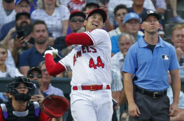 Los Angeles Angels designated hitter/pitcher Shohei Ohtani watches his ball during the first round of the 2021 MLB Home Run Derby on Monday at Coors Field in Denver. Photo by Bob Strong/UPI