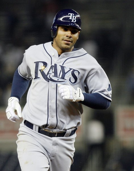 Tampa Bay Rays Carlos Pena runs the bases after hitting a solo homer in the tenth inning against the New York Yankees at Yankee Stadium in New York City on May 6, 2009. The Rays defeated the Yankees 4-3 in ten innings. (UPI Photo/John Angelillo)