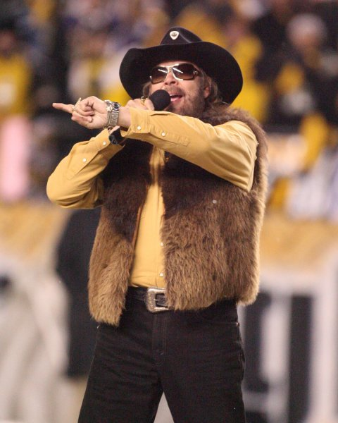Hank Williams Jr. performs before at Heinz Field in Pittsburgh on January 18, 2009. Williams has been let go by ESPN after making remarks comparing President Obama to Hitler. (UPI Photo/Stephen M. Gross)