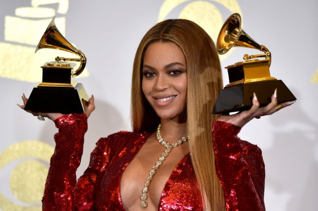 Beyonce appears backstage with her awards for Best Music Video for Formation and Best Urban Contemporary Album for Lemonade during the 59th annual Grammy Awards held at Staples Center in Los Angeles on February 12. The singer turns 36 on September 4. File Photo by Christine Chew/UPI