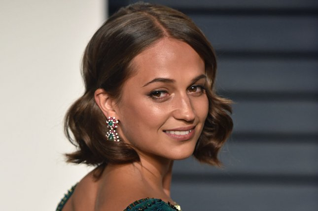 Alicia Vikander attends the Vanity Fair Oscar Party on February 26. Vikander stars as Lara Croft in the first trailer for Tomb Raider. File Photo by Christine Chew/UPI