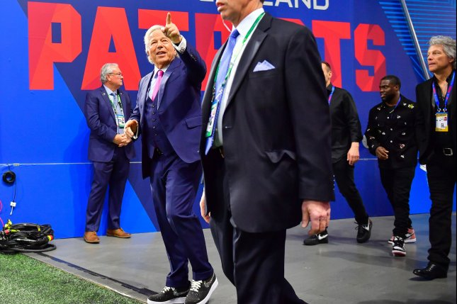 New England Patriots owner Robert Kraft (L) walks onto the field at Mercedes-Benz Stadium in Atlanta, Ga., on February 3 before the start of Super Bowl LIII between the Patriots and Los Angeles Rams. Photo by Kevin Dietsch/UPI
