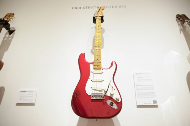 A red Fender Fullerton 1984 guitar is seen on display at Christie's auction house in New York City on June 14, 2019. File Photo by John Angelillo/UPI