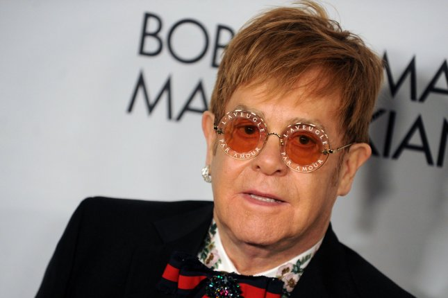 Elton John arrives on the red carpet at the Elton John AIDS Foundation's Annual Fall Gala at Cathedral of St. John the Divine on November 7, 2017 in New York City. The singer turns 73 on March 25. File Photo by Dennis Van Tine/UPI