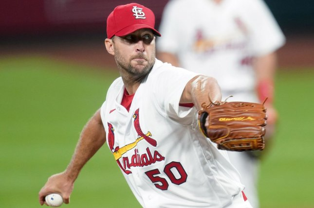 St. Louis Cardinals starting pitcher Adam Wainwright threw 122 pitches and had nine strikeouts in nine innings in a win over the Cleveland Indians Sunday in St. Louis. Photo by Bill Greenblatt/UPI