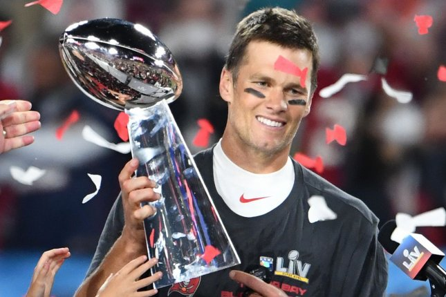 Tampa Bay Buccaneers quarterback Tom Brady (pictured) and tight end Rob Gronkowski won their fourth Vince Lombardi trophy together Sunday, but Gronkowski says he hasn't been closer than 30 yards to the trophy.Photo by Kevin Dietsch/UPI