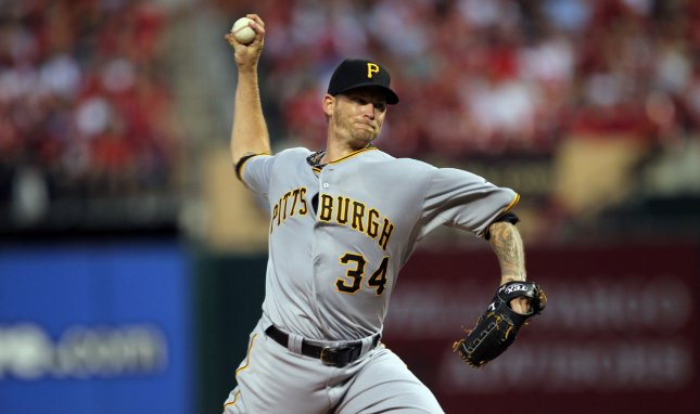 Pittsburgh Pirates starting pitcher A.J. Burnett delivers a pitch to the St. Louis Cardinals in the second inning at Busch Stadium in St. Louis on May 2, 2012. UPI/Bill Greenblatt