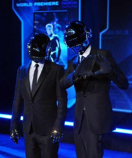 French electronical music duo Daft Punk members Thomas Bangalter and Guy-Manuel Homem-Christo, cast members in the motion picture sci-fi thriller TRON: Legacy, attend the world premiere of the film at the El Capitan Theatre in the Hollywood section of Los Angeles on December 11, 2010. UPI/Jim Ruymen