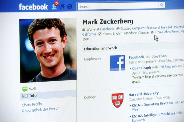 The Facebook homepage of Mark Zuckerberg is displayed on the Internet on December 15, 2010. Zuckerberg, 26, has been named Time magazine's Person of the Year for 2010. Zuckerberg is the CEO and co-founder of Facebook. UPI