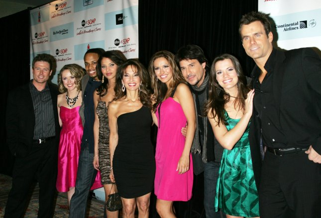 The Cast of All My Children (L-R) Jacob Young, Brianne Moncrief, Cornelius Smith Jr., Denise Vasi, Susan Lucci, Chrishell Stause, Ricky Paull Goldin, Melissa Claire Egan and Cameron Mathison arrive for the 5th Annual ABC and SOAPnet Salute to Broadway Cares/Equity Fights AIDS Benefit Post-Party at the Marriott Marquis Hotel in New York on March 9, 2009. (UPI Photo/Laura Cavanaugh)