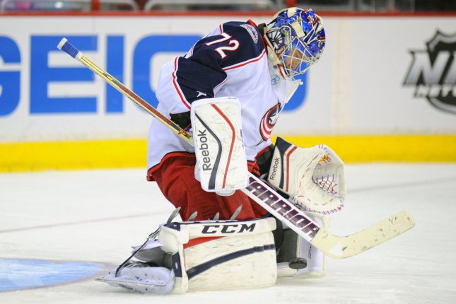 Sergei Bobrovsky stopped all 38 shots he faced for his fourth shutout of the season as Columbus scored a 1-0 win over Minnesota at Nationwide Arena. File Photo by Mark Goldman/UPI
