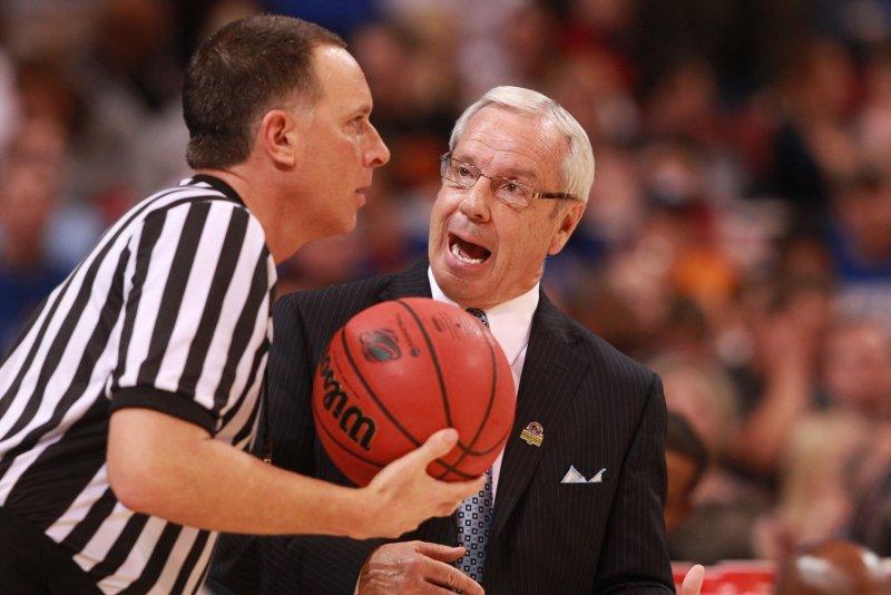 North Carolina head basketball coach Roy Williams has words with an offical. File photo by Bill Greenblatt/UPI