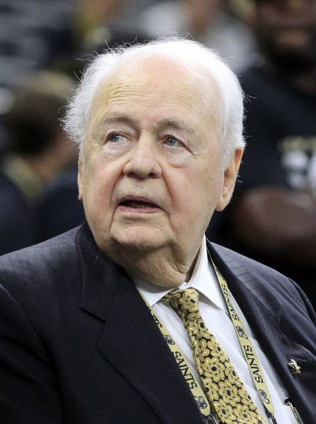 New Orleans Saints owner Tom Benson sits on the sidelines before a game against the Atlanta Falcons last season. Photo by AJ Sisco/UPI