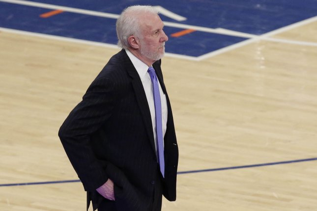 Coach Gregg Popovich and the San Antonio Spurs face the Los Angeles Clippers on Thursday. Photo by John Angelillo/UPI