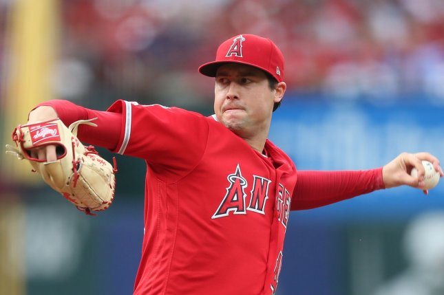 Pitcher Tyler Skaggs was found dead in his hotel room Monday in Texas. Police said that Skaggs was found unresponsive and was pronounced dead at the scene. Photo by Bill Greenblatt/UPI