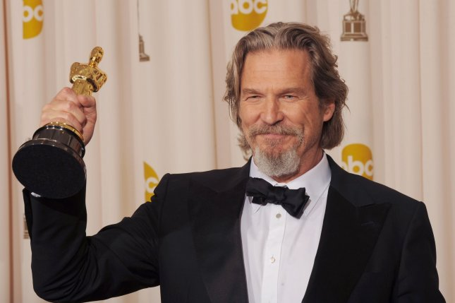 Best Actor winner Jeff Bridges holds his Oscar for his performance in Crazy Heart at the 82nd annual Academy Awards in Hollywood on March 7, 2010. UPI/Jim Ruymen