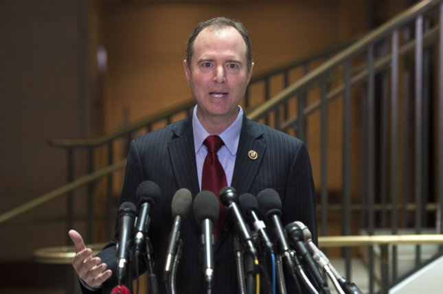 Rep. Adam Schiff, D-Calif., ranking member on the House Intelligent Committee, speaks about ongoing investigation into the Russian involvement in the 2016 Presidential election, on Capitol Hill in Washington, D.C. on Friday. On Sunday, he called for an independent commission to investigate whether Russians worked with Donald Trump's campaign staff. Photo by Kevin Dietsch/UPI