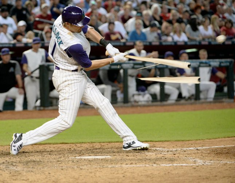 Arizona Diamondbacks hitter A.J. Pollock's bat shatters as he pops up in the seventh inning of the Diamondbacks-Los Angeles Dodgers game Thursday. Photo by Art Foxall/UPI