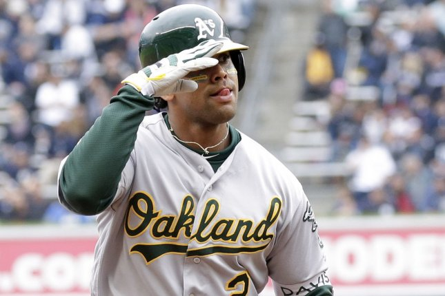 Khris Davis and the Oakland A's face the Los Angeles Angels on Friday. Photo by John Angelillo/UPI
