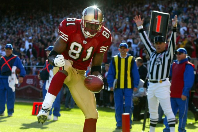 Terrell Owens (shown in 2003) ranks second in most major receiving statistics in San Francisco 49ers history, trailing only Jerry Rice. File Photo by Terry Schmitt/UPI