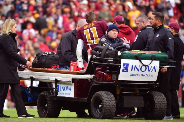 Washington Redskins quarterback Alex Smith posted a 6-4 record as a starter before missing the rest of the season due to a broken leg he sustained in Week 11. File Photo by Kevin Dietsch/UPI
