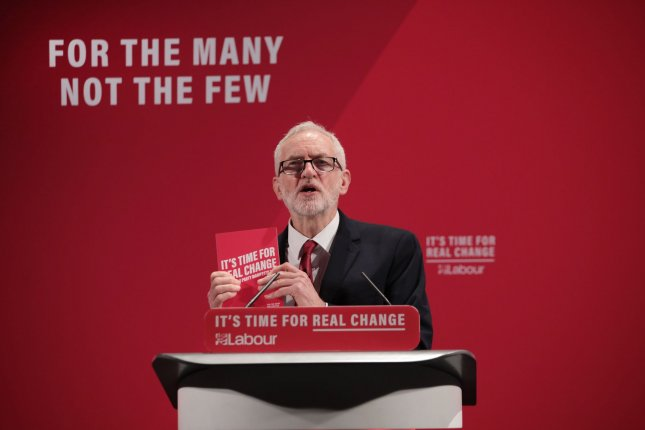 Then-Labor Party leader Jeremy Corbyn is seen at an event in Tottenham, Britain, on November 26, 2019. File Photo by Hugo Philpott/UPI