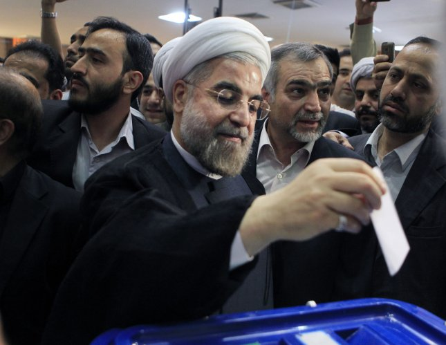 Hassan Rouhani, Iran's former top nuclear negotiator, is the apparent winner of Iran's presidential election, garnering 50.5 percent of the vote with 97 percent of ballots counted. UPI/Maryam Rahmanian