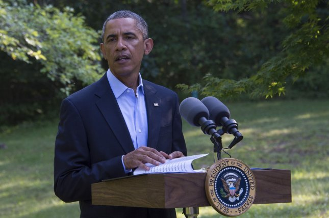 President Barack Obama delivers a statement on Iraq during his vacation in Chilmark, Martha's Vineyard, Massachusetts on August 11, 2014. (UPI/Rick Friedman/Pool)