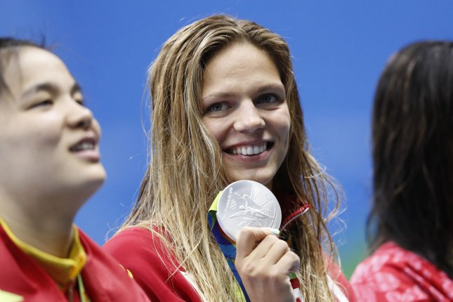 Yulia Efimova of Russia smiles holding her silver medal after the women's 200m breaststroke final at the Olympic Aquatics Stadium at the 2016 Rio Summer Olympics in Rio de Janeiro, Brazil, on August 11, 2016. Photo by Matthew Healey/UPI
