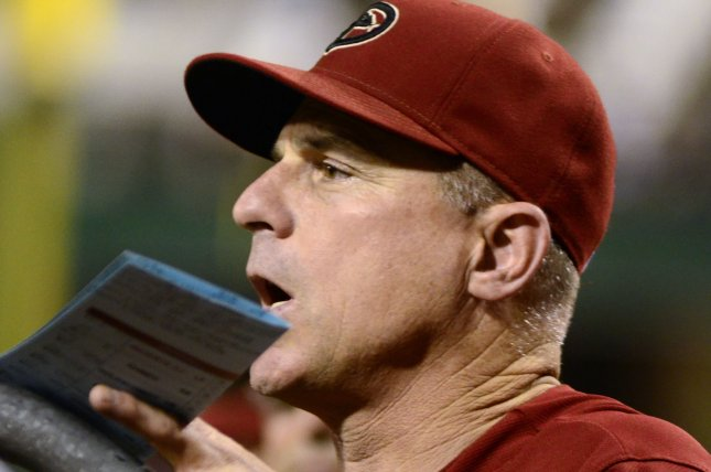 Arizona Diamondbacks manager Chip Hale (3) hold his line up card as he looks out from the dugout during the Diamondbacks 4-1 loss to the Pittsburgh Pirates at PNC Park in Pittsburgh on August 19, 2015. Photo by Archie Carpenter/UPI