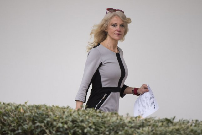 Senior presidential adviser Kellyanne Conway will not be disciplined by the White House for remarks she made during an appearance on the Fox News Channel last month, in which she encouraged viewers to purchase products from Ivanka Trump's fashion line. The Office of Government Ethics recommended discipline, saying her televised comments appeared to be a clear violation of federal ethics guidelines. Photo by Kevin Dietsch/UPI