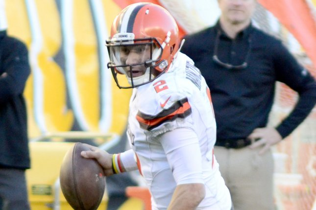 Former Cleveland Browns quarterback Johnny Manziel (2) scrambles to the right and throws an interception in the fourth quarter of the Pittsburgh Steelers' 30-9 win at Heinz Field in Pittsburgh on November 15, 2015. File photo by Archie Carpenter/UPI