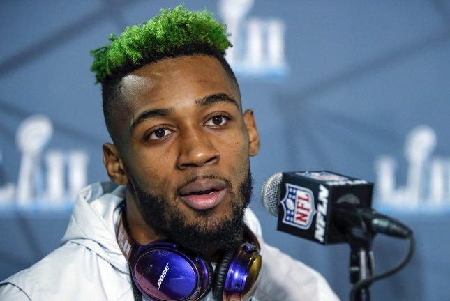 Philadelphia Eagles cornerback Jalen Mills speaks to the media at Super Bowl LII press conference on Tuesday at the Mall of America in Bloomington, Minnesota. Super Bowl LII will be played between the Philadelphia Eagles and New England Patriots on Feb 4th at U.S. Bank Stadium. Photo by Kamil Krzaczynski/UPI