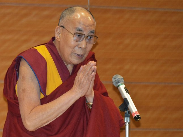 His Holiness the 14th Dalai Lama, Tenzin Gyasto, speaks during a special lecture for member of the Diet in Tokyo, Japan on November 16, 2016. The Dalai Lama was hospitalized on Tuesday with a chest infection. File Photo by Keizo Mori/UPI