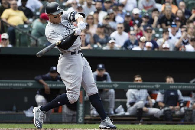 New York Yankees right fielder Aaron Judge hasn't played since April 20 due to a strained left oblique. File Photo by Alex Edelman/UPI