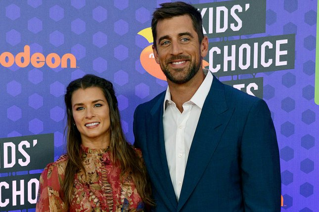 Former NASCAR driver Danica Patrick (L) and Green Bay Packers quarterback Aaron Rodgers (R) began dating in 2018 before the couple separated this summer. File Photo by Chris Chew/UPI