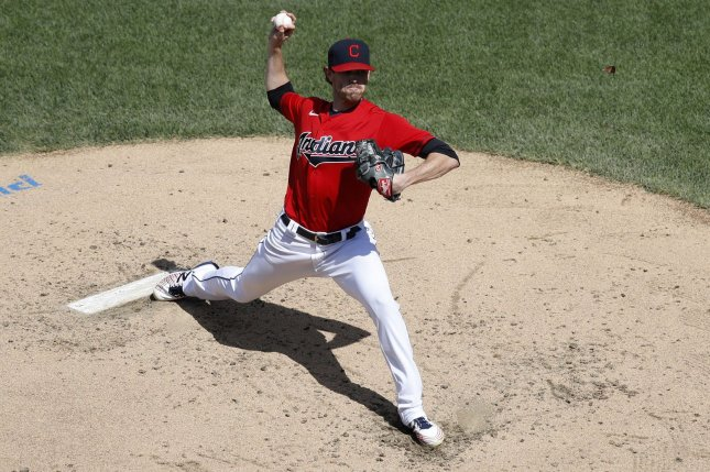 Cleveland Indians pitcher Shane Bieber lowered his season ERA to 1.25 and moved to 7-0 in 2020 after he picked up a win over the Milwaukee Brewers Sunday in Cleveland. Photo by Aaron Josefczyk/UPI