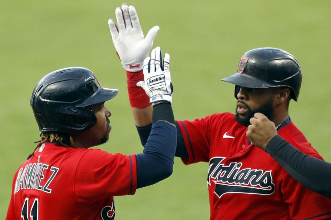 Jose Ramirez (L) and Carlos Santana (C) each homered in the Cleveland Indians' win over the Chicago White Sox on Monday at Progressive Field in Cleveland. Photo by Aaron Josefczyk/UPI