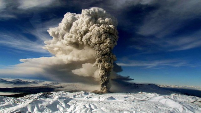 This image released by the Chilean Air Force on June 14, 2011 shows the Puyehue-Cordon Caulle volcano spewing ash. The volcano, which started to erupt on June 4, has spread ash through most of the southen hemisphere and has disrupting hundreds of flights. UPI/Chilean Air Force