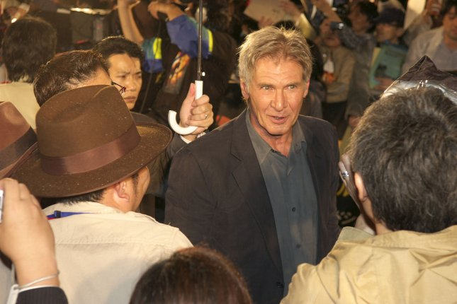 Harrison Ford attends the premiere of Indiana Jones and the Kingdom of the Crystal Skull in Tokyo, Japan, on June 5, 2008. File photo by Keizo Mori/UPI