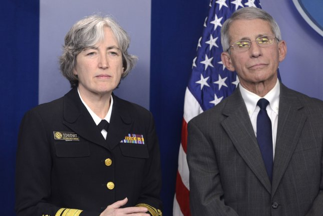 Dr. Anthony Fauci, director of the National Institutes of Health, and Dr. Anne Schuchat, principal deputy director of the Centers for Disease Control and Prevention, brief the press in Washington on the mosquito-borne disease Zika, at the White House in February. The CDC now says women who have traveled to Zika-infected areas of South America should not attempt to become pregnant for at least two months. Photo by Mike Theiler/UPI